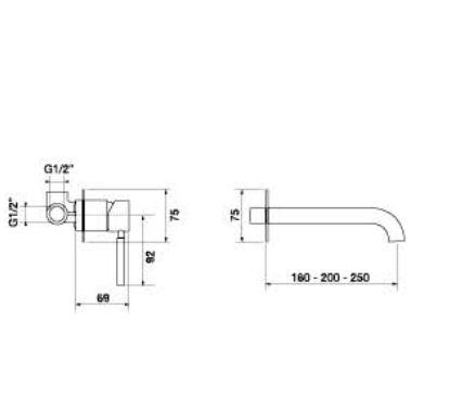 """אינטרפוץ-שחור-פיה-20סנטימטר-שרטוט <span class=""""degem"""">דגם פורמה S 23117.20 (מגוון צבעים) PB</span>"""