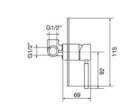 """אינטרפוץ-3-דרך-23133-שרטוט <span class=""""degem"""">דגם פורמה PortaBini S-23133 (צבעים)</span>"""