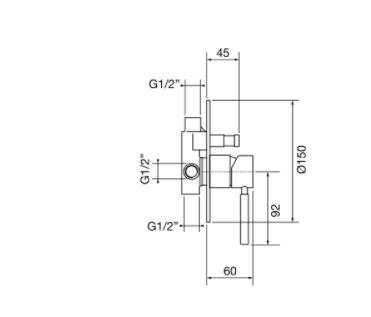"""אינטרפוץ-4-דרך-שרטוט-23134 <span class=""""degem"""">דגם פורמה PortaBini S-23134 (צבעים)</span>"""