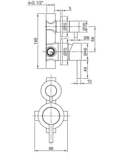 """אינטרפוץ-4-נירוסטה-שרטוט-35331 <span class=""""degem"""">דגם S 35331 נירוסטה/טיטניום PB</span>"""