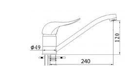 """ברז-ארוך-2305-שרטוט <span class=""""degem"""">דגם 2305L ניקל SO</span>"""
