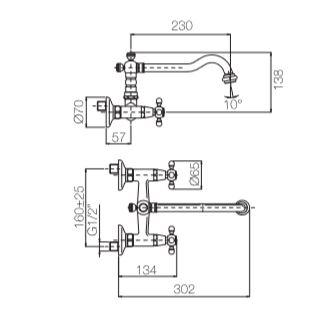 """ברז-מהקיר-שרטוט-6051 <span class=""""degem"""">דגם S 6051 (קיים בכמה גוונים) PB</span>"""