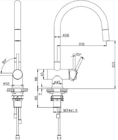 """ברז-מטבח-מנירוסטה-שרטוט-אנה <span class=""""degem"""">דגם אנה 51030 SNY</span>"""