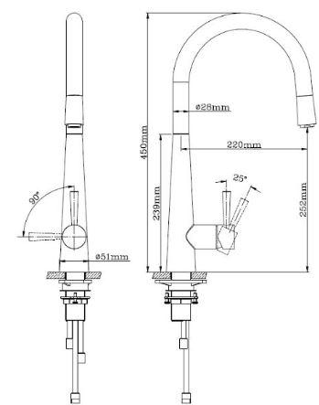 """ברז-מטבח-מנירוסטה-שרטוט-שלגיה <span class=""""degem"""">דגם שלגיה 50950 SNY</span>"""