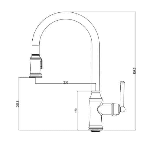 """ברז-מטבח-שרטוט-1491 <span class=""""degem"""">דגם רקפת 1491 SO רקפת ניקל</span>"""