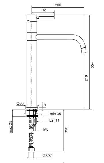 """ברז-פרח-גבוה-פיה-ארוכה-23160-שרטוט <span class=""""degem"""">דגם s-23160 פורמה (מגוון צבעים) PB</span>"""