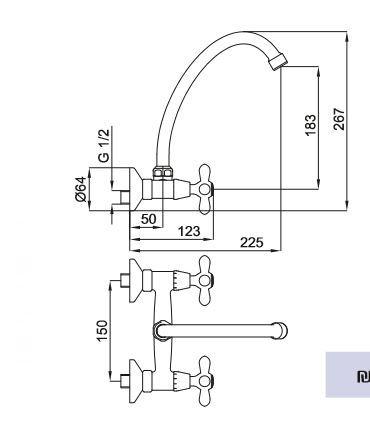 "ברז-קיר-ארוך-דייזי <span class=""degem"">דגם דייזי 570105 (ניקל / ברונזה) SH</span>"