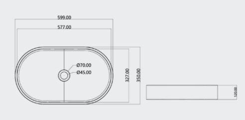 """כיורים-מבטון-אובלי-60-35-שרטוט <span class=""""degem"""">דגם כיור אובלי 60/35 ס""""מ PEZZI</span>"""