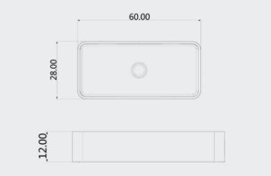 """כיורי-בטון-קטן-שרטוט-60-28 <span class=""""degem"""">דגם כיור מלבני (מבחר צבעים) PE sb1034</span>"""