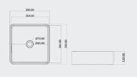 """כיור-בטון-מרובע-39-שרטוט <span class=""""degem"""">דגם כיור מרובע 39 ס""""מ PEZZI</span>"""