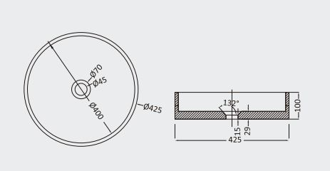 """כיור-בטון-עגול-שרטוט-39 <span class=""""degem"""">דגם עגול (מבחר צבעים) PE SB1009</span>"""