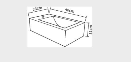 """כיור בטון צור שרטוט רוסטיק <span class=""""degem"""">דגם צור רוסטיק - כיור שוקת 40/23 ס""""מ DI</span>"""
