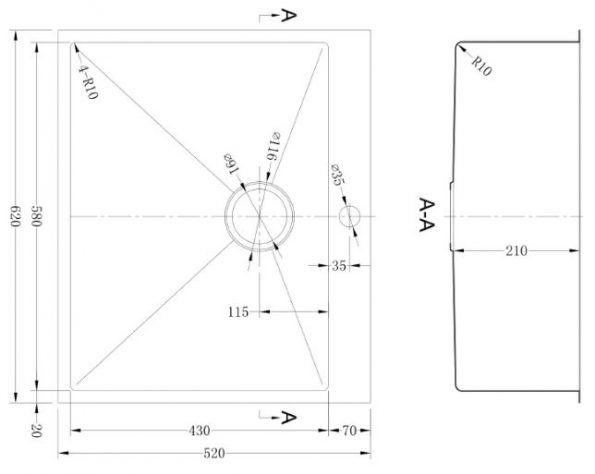 """כיור-מטבח-נירוסטה-שרטוט-כלנית <span class=""""degem"""">דגם כלנית 625 VR</span>"""