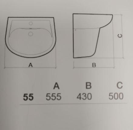 """כיור-תלוי-עם רגל-קטוס55-שרטוט- <span class=""""degem"""">דגם SUNINDUSA CETUS - SHR</span>"""