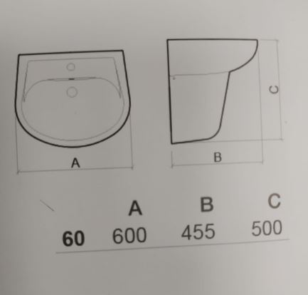 """כיור-תלוי-עם רגל-קטוס60-שרטוט- <span class=""""degem"""">דגם SUNINDUSA CETUS - SHR</span>"""