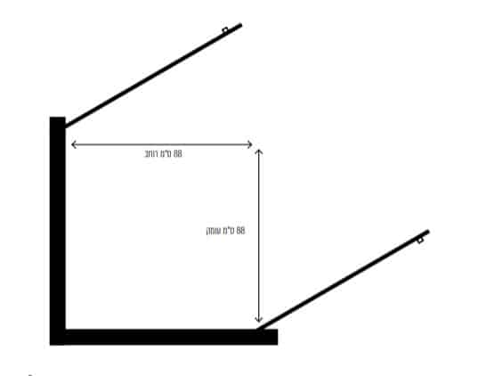 """מקלחון דלתות אדמס שרטוט <span class=""""degem"""">דגם אדמס S שחור D/R</span>"""