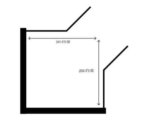 """מקלחון פינתי מונרו שרטוט <span class=""""degem"""">דגם מקלחון מונרו S שחור D/R</span>"""