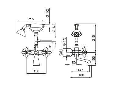 """סוללת-אמבטיה-מפוארת-דייזי <span class=""""degem"""">דגם דייזי 570109 (ניקל / ברונזה) SH</span>"""