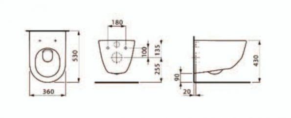 """שרטוט אסלה תלויה PRO A <span class=""""degem"""">דגם PRO A לאופן 820966 YR</span>"""