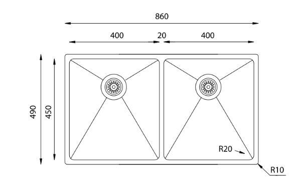 """שרטוט כיור כפול580710 מנירוסטה <span class=""""degem"""">דגם 580710 מיקרו 400.50.50 SH</span>"""