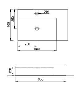 """שרטוט-כיור-מונח-ICON-מעוצב-שחור <span class=""""degem"""">דגם ICON 560009 שחור מט 65 ס""""מ SH</span>"""