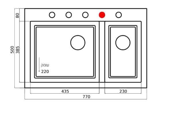 """שרטוט כיור מטבח 593035 <span class=""""degem"""">דגם RECTANGULAR 593039 SH</span>"""