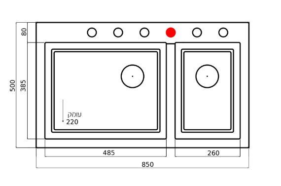 """שרטוט כיור מטבח593040 <span class=""""degem"""">דגם RECTANGULAR 593039 SH-1</span>"""