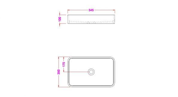 """90111-שרטוט <span class=""""degem"""">דגם כיור מונח אבן מרובע SNY 90111</span>"""