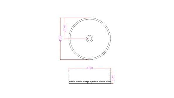 """90112-שרטוט- <span class=""""degem"""">דגם כיור מונח אבן עגול SNY 90112 לבן</span>"""