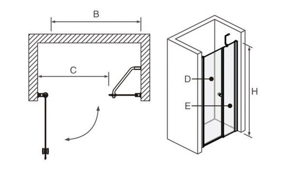 "DOUBLE_draw <span class=""degem"">דגם מקלחון חזיתי דלת נפתחת TB DOUBLE</span>"