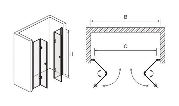 "FRONT_draw <span class=""degem"">דגם מקלחון חזית דלתות אקורדיון TB FRONT</span>"